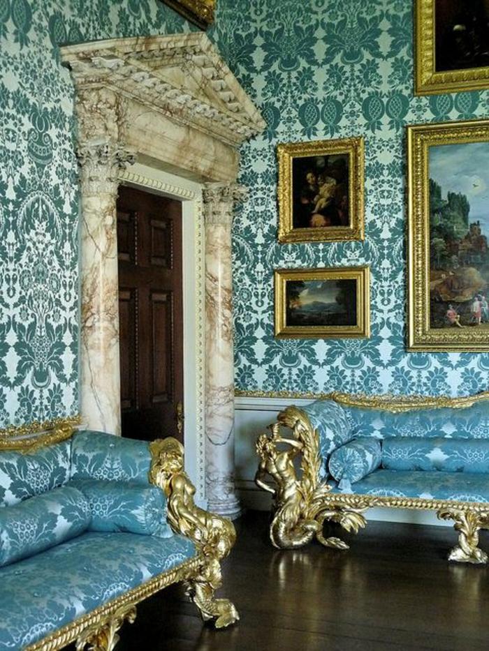 Luxus-Zimmer-Barock-Design-türkisblau