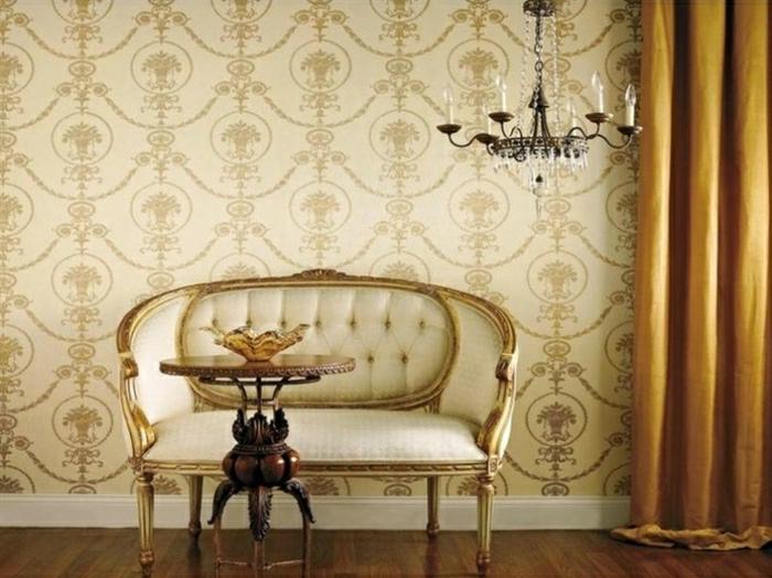 Luxus-Zimmer-Tapete-Barock-Muster-Creme-Golden