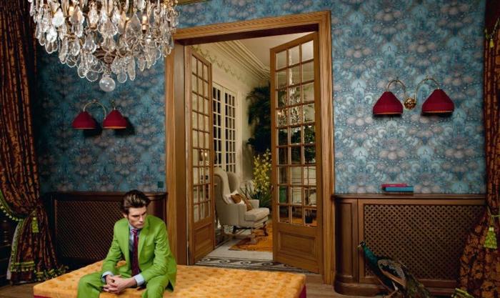 Luxus-Zimmer-Tapete-Barock-Muster-blau