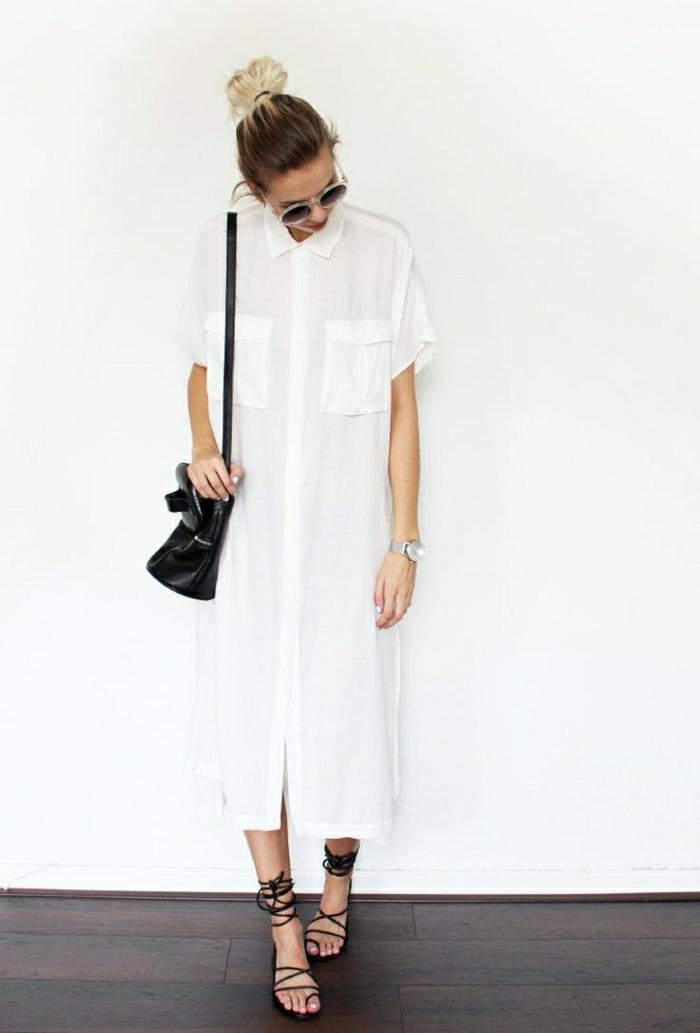 Maxi-Kleid-weiß-Hemd-Sonnenbrille-Sommerkleidung