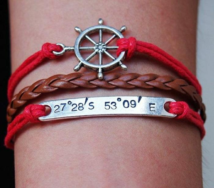 Meeres-Armband-rot-braun-graviert
