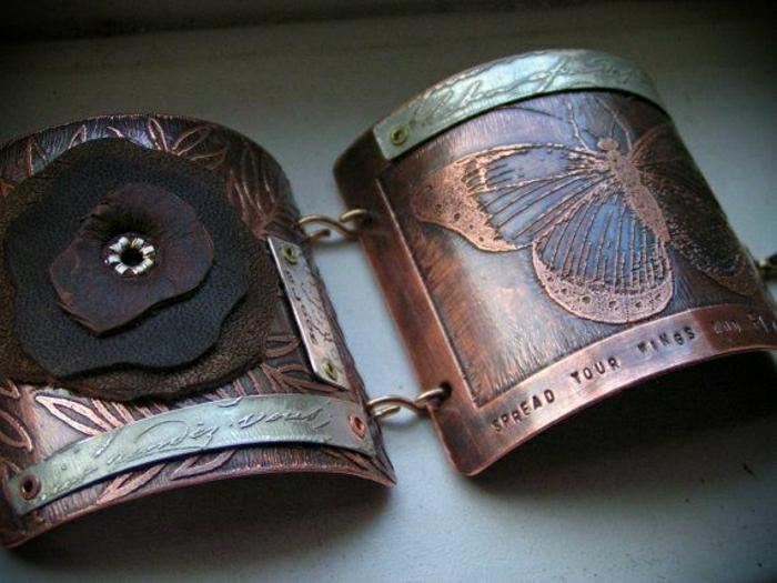 Metall-Leder-Armband-Gravur-Schmetterling-Spruch