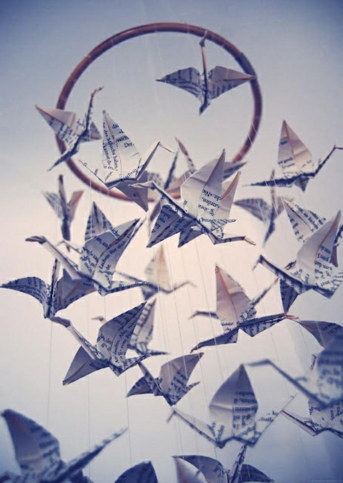 Origami-Kranich-Mobile-Traumfänger