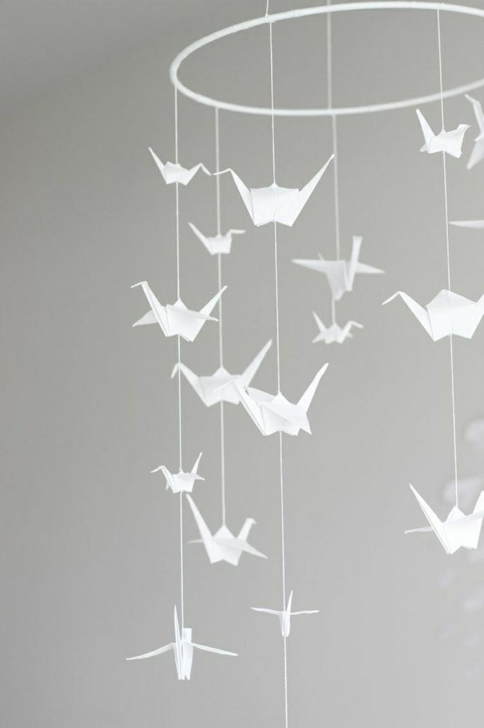 Origami-Kranich-Mobile-weiß