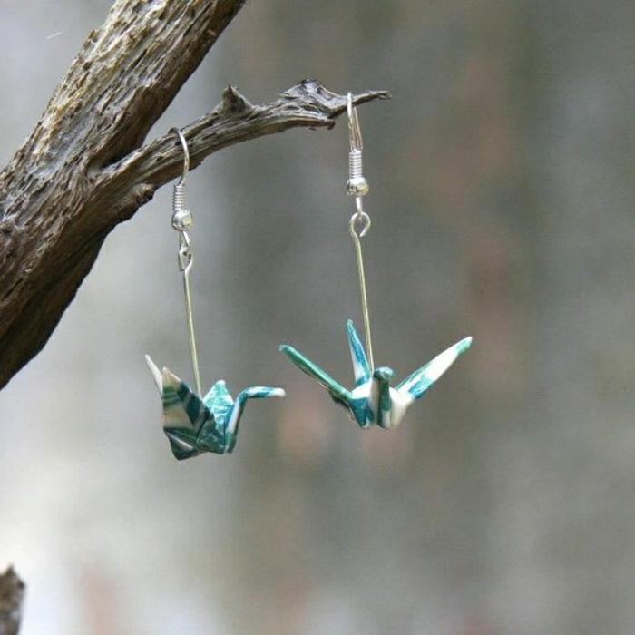 Origami-Kranich-Modell-Ohrringe