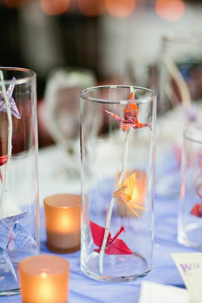 Origami-Kranich-Gläser-Kerzen-Hochzeit-Dekoration
