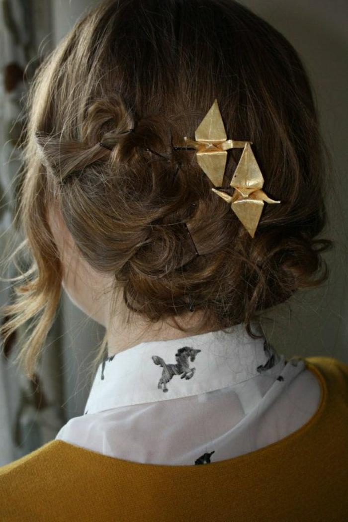 Origami-Kraniche-Haar-Stifte-golden