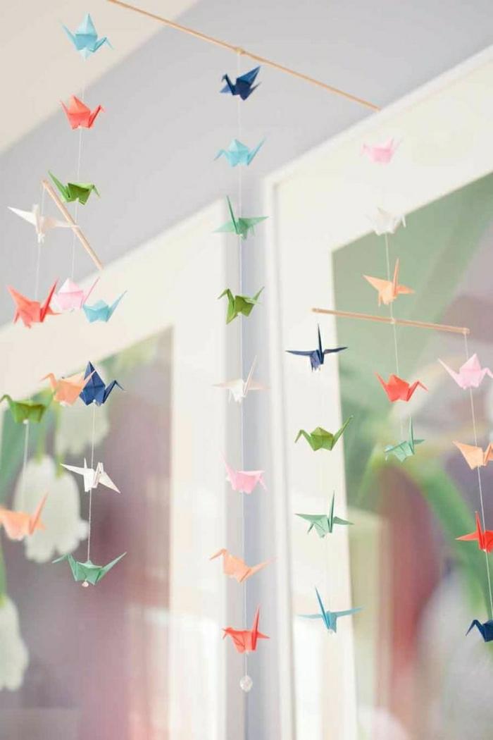 Origami-Papier-Kranich-Mobile-Kinderzimmer
