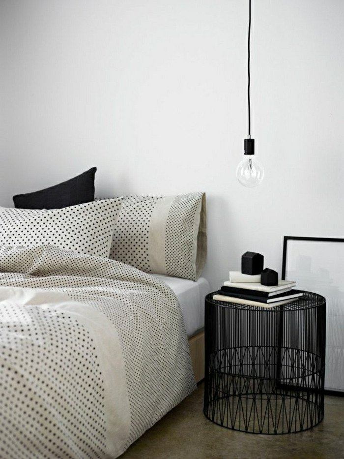 Polka-Dot-Bettwäsche-schwarze-Kisse-Korb-Nachttisch