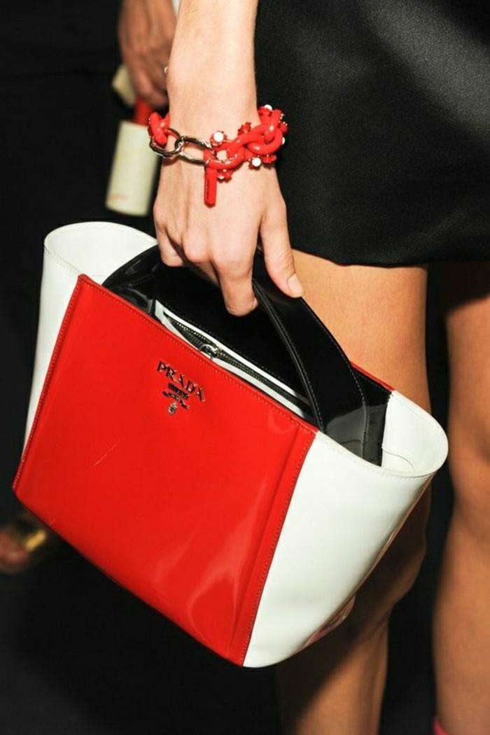 Prada-Tasche-rot-weiß-schwarz