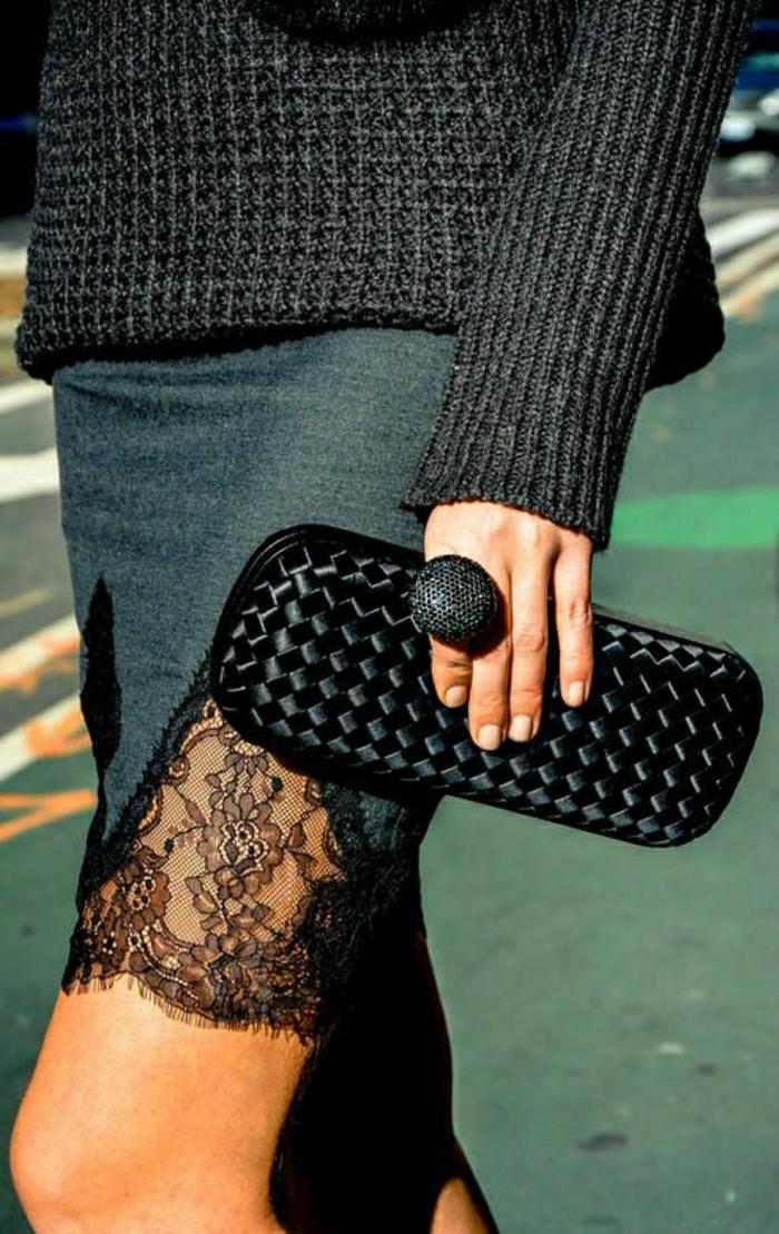 Pullover-Rock-Spitze-Ring-Clutch-schwarz