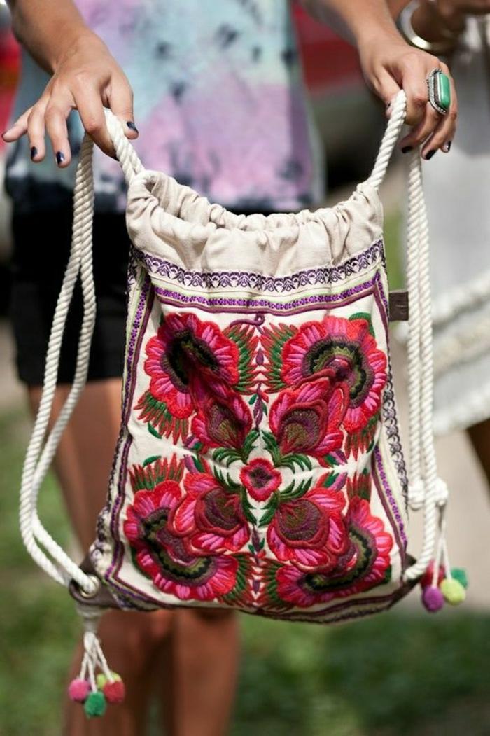 Rucksack-Damen-Textil-Blumen