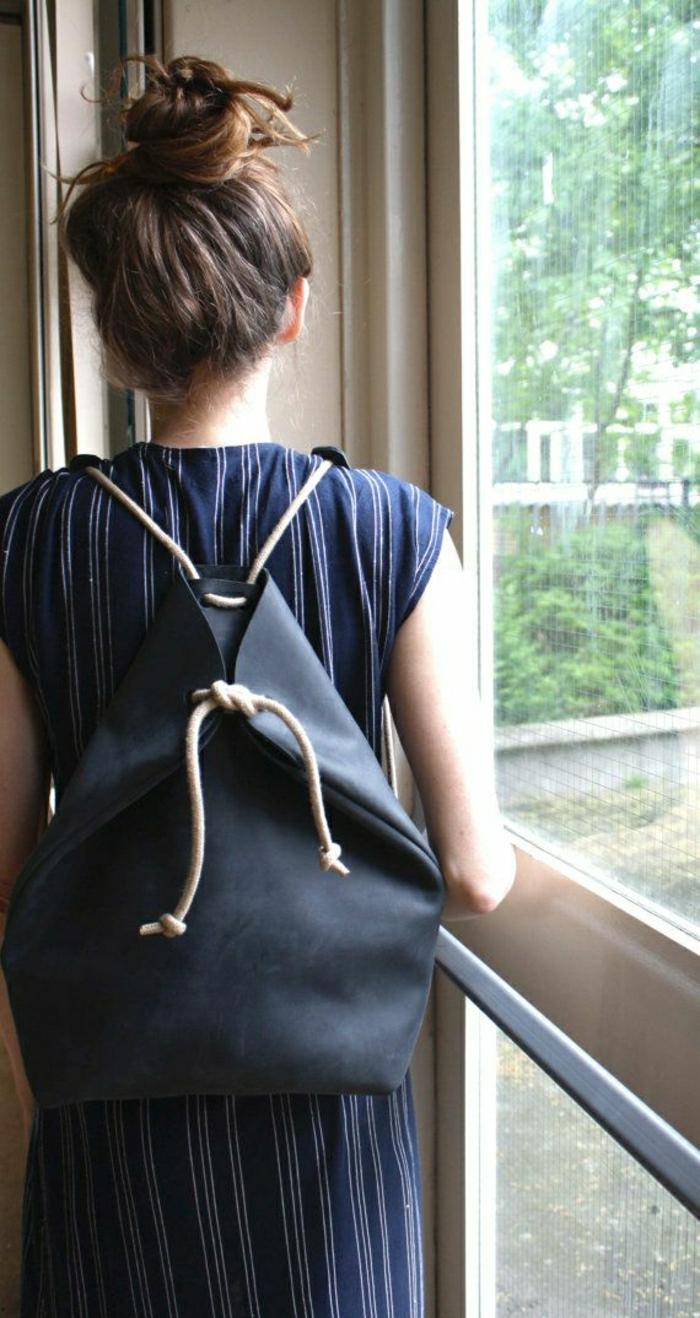 Rucksack-Damen-einfaches-Design-schwarz
