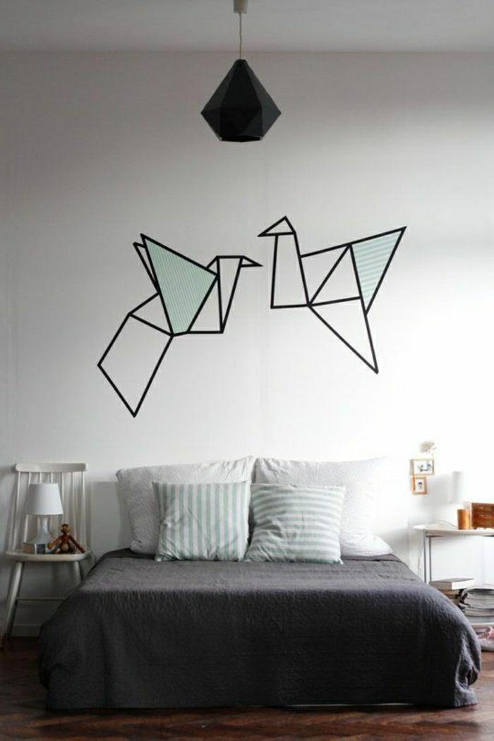 Schlafzimmer-Wanddeko-Wandtattoo-Origami-Kraniche