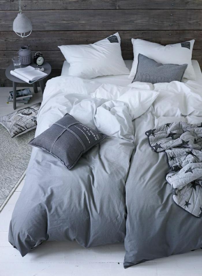 Schlafzimmer-industrielles-Design-Bettwäsche-Ombre-Effekt-grau-Sterne-Dekoration