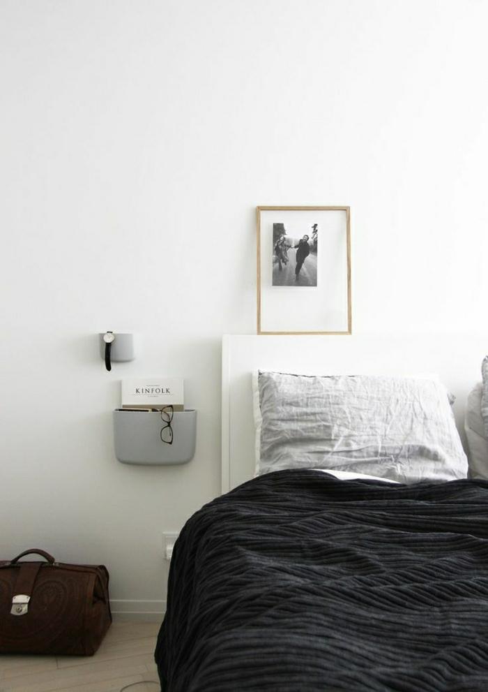 Schlafzimmer-minimalistisch-skandinavisches-Interieur-weiß-grau-schwarz
