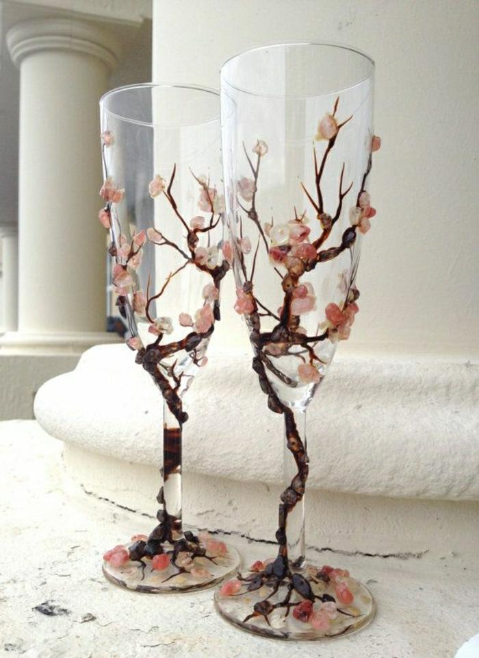 Sektgläser-Baumblüte-Dekoration
