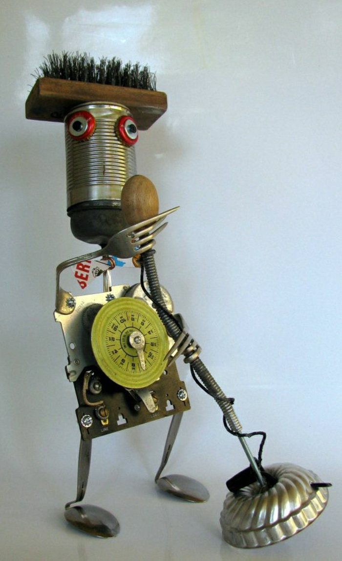 Skulptur-Metall-Roboter-Mikrophon