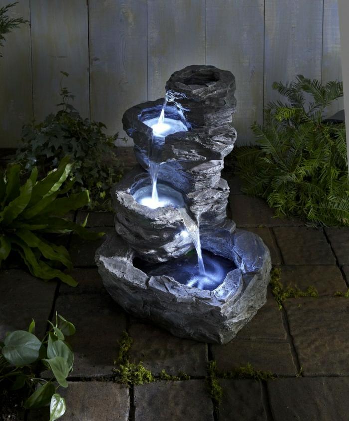 Solar Gartenbrunnen Blaue LED Leuchte