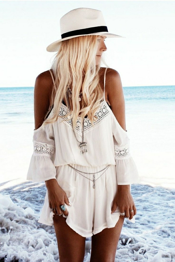 Sommer-Strand-weiße-kurze-Hemdhose-Boho-Chic