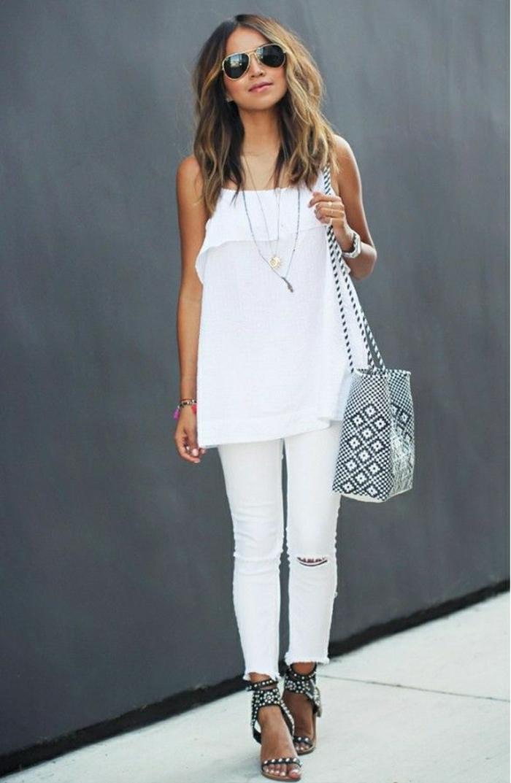 Sommerkleider-in-Weiß-Jeans-Top-Tasche-graphischer-Muster