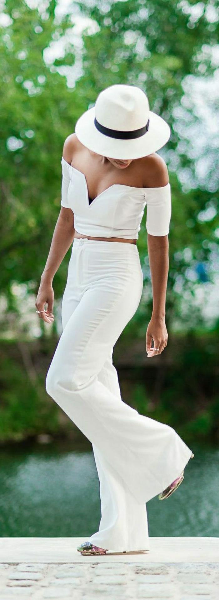 Sommerkleider-zwei-Teile-Hosen-Top-Hut-weiß