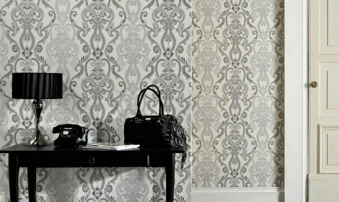 Tapete-Barock-Muster-schwarz-weiß