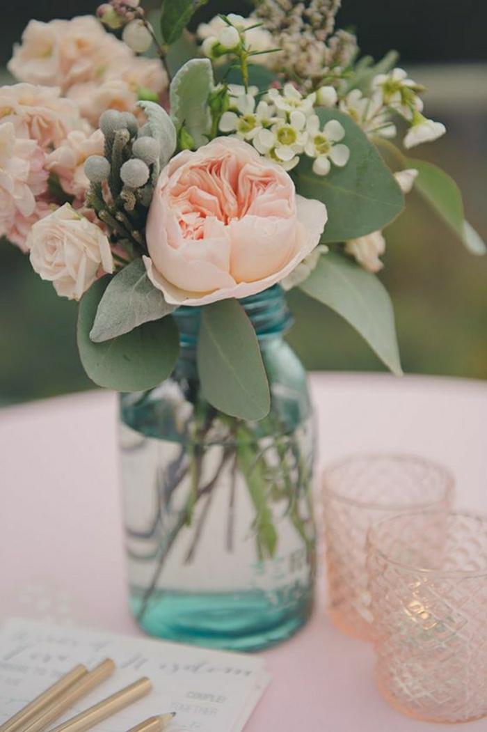 Tisch-Dekoration-Blumen-Einweckglas-Gläser-Kerzen