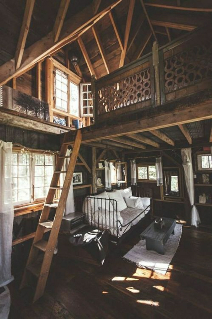 Traumhütte-zweistöckig-gemütlich-Holz