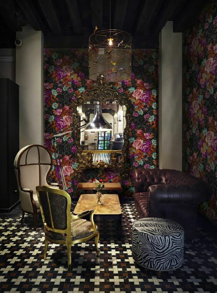 Venedig-Hotel-Barock-Design-Tapete-Blumen-Dekoration
