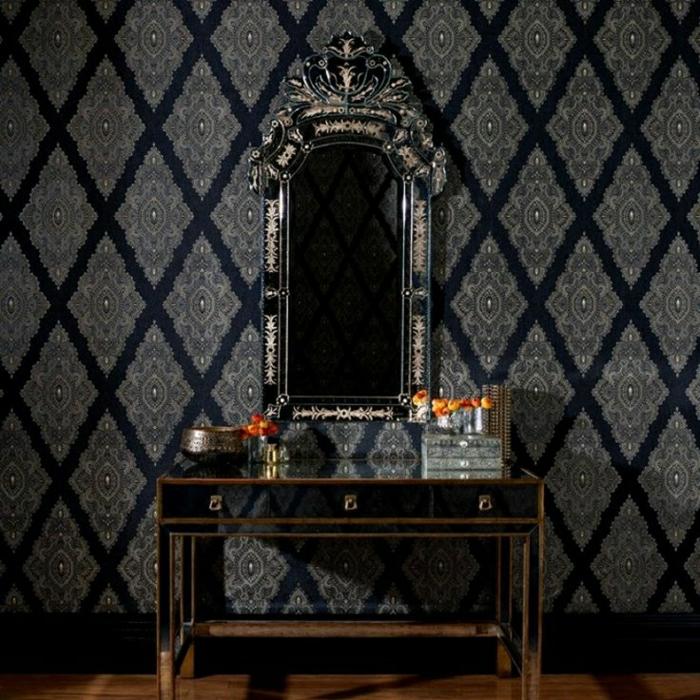 Wand-Barock-Muster-Grundton-Schwarz-silberne-Ornamente-Spiegel