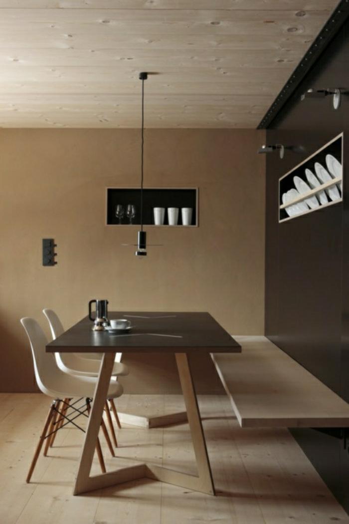 Wandfarbe Cappuccino Esszimmer Bank Minimalistik