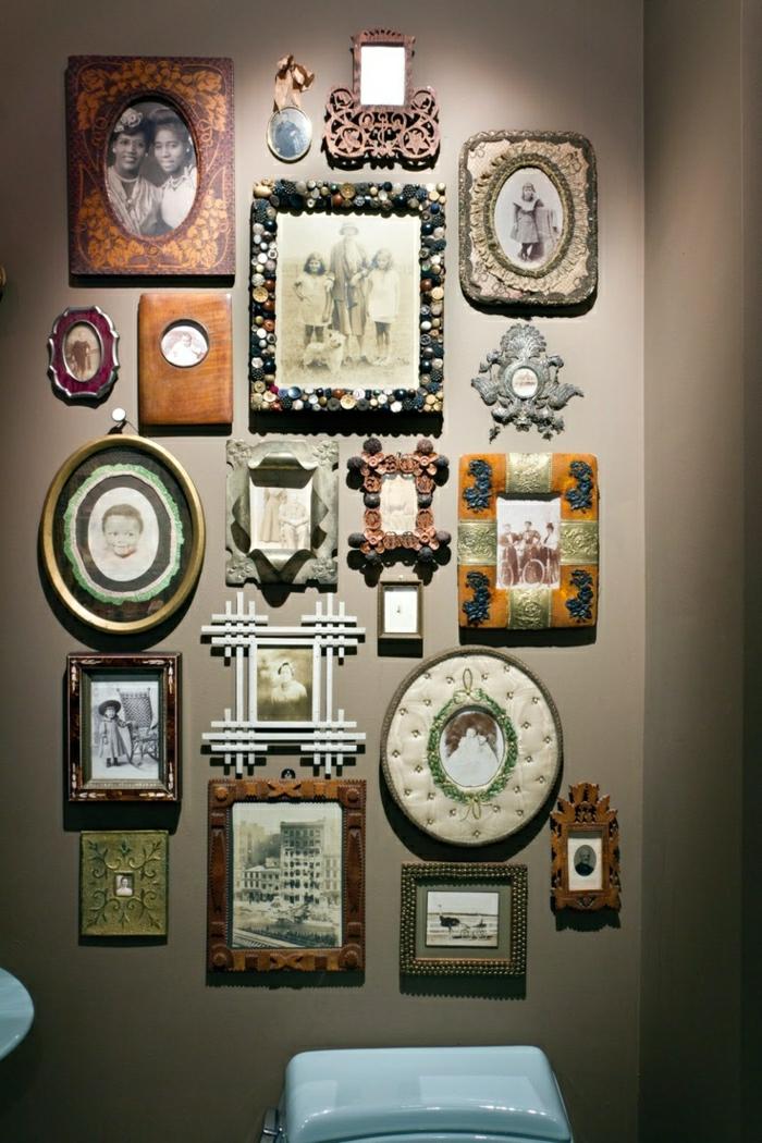 Wohnung-braune-Wald-Familienbilder-verschiedene-Rahmen