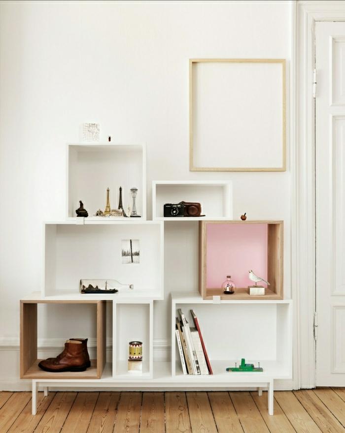 Wohnung-skandinavisches-Design-minimalistisch-Bücherregale