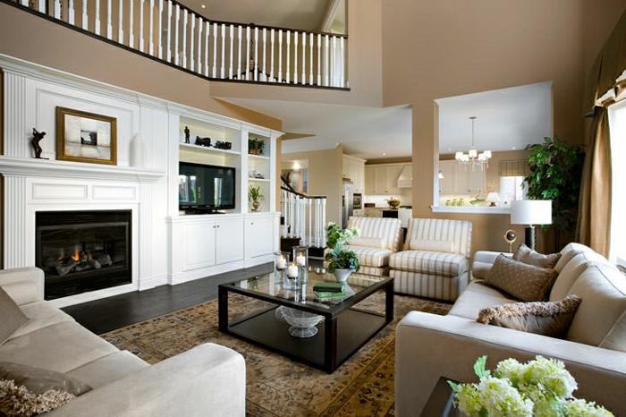 cappuccino wohnzimmer:Wohnzimmer-Cappuccino-Wände-Kamin-Sofas-Sessel-amerikanischer-Stil