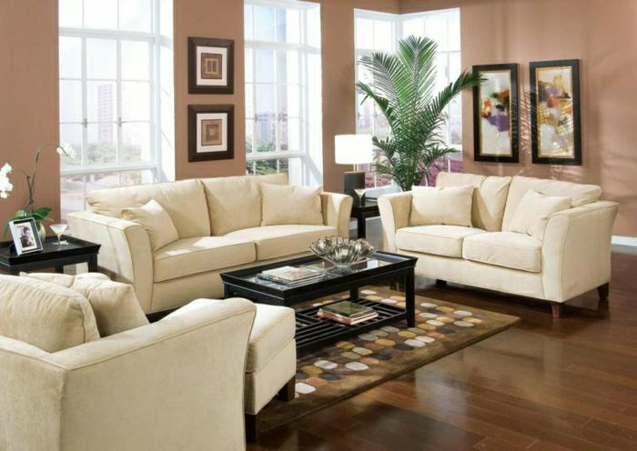 Wohnzimmer-Cappuccino-Wände-beige-Möbel-Pflanzen