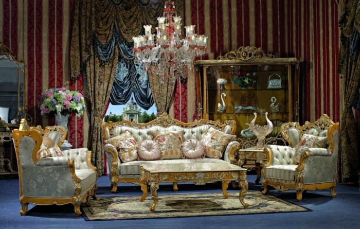 Die barock tapete in 48 wundersch nen design ideen - Barock wohnzimmer modern ...