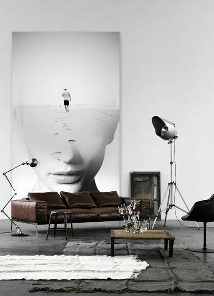 Wohnzimmer-industrielles-Design-Ledersofa-Bild-weibliches-Gesicht-Mann