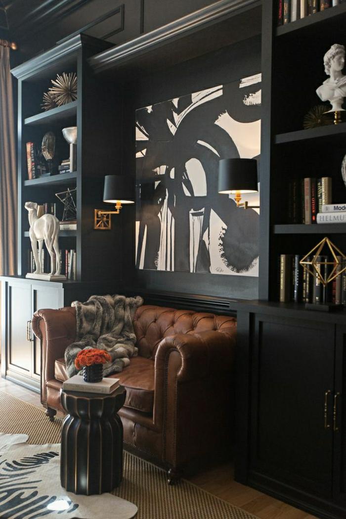 wohnzimmer chesterfield:Wohnzimmer-modern-schwarz-Chesterfield-Tierhaut