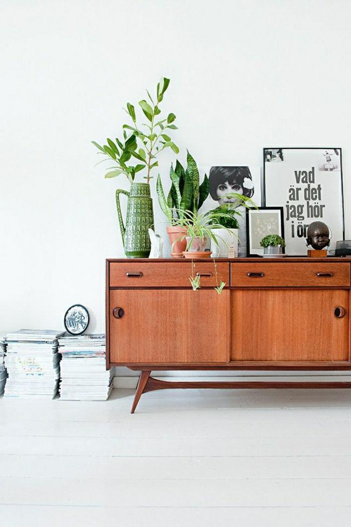Wohnzimmer-skandinavisches-Design-Bilder-Pflanzen-Schubladen-Bücher