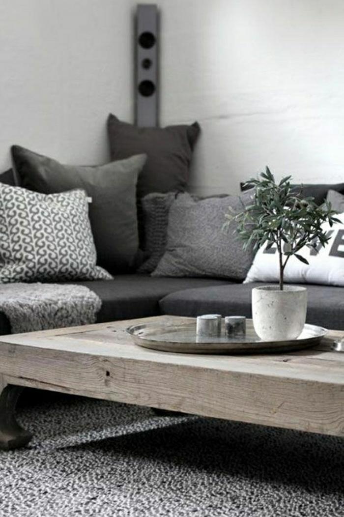 Wohnzimmer-skandinavisches-Interieur-grau-Kissen-Tisch-Sofa-Blumentopf