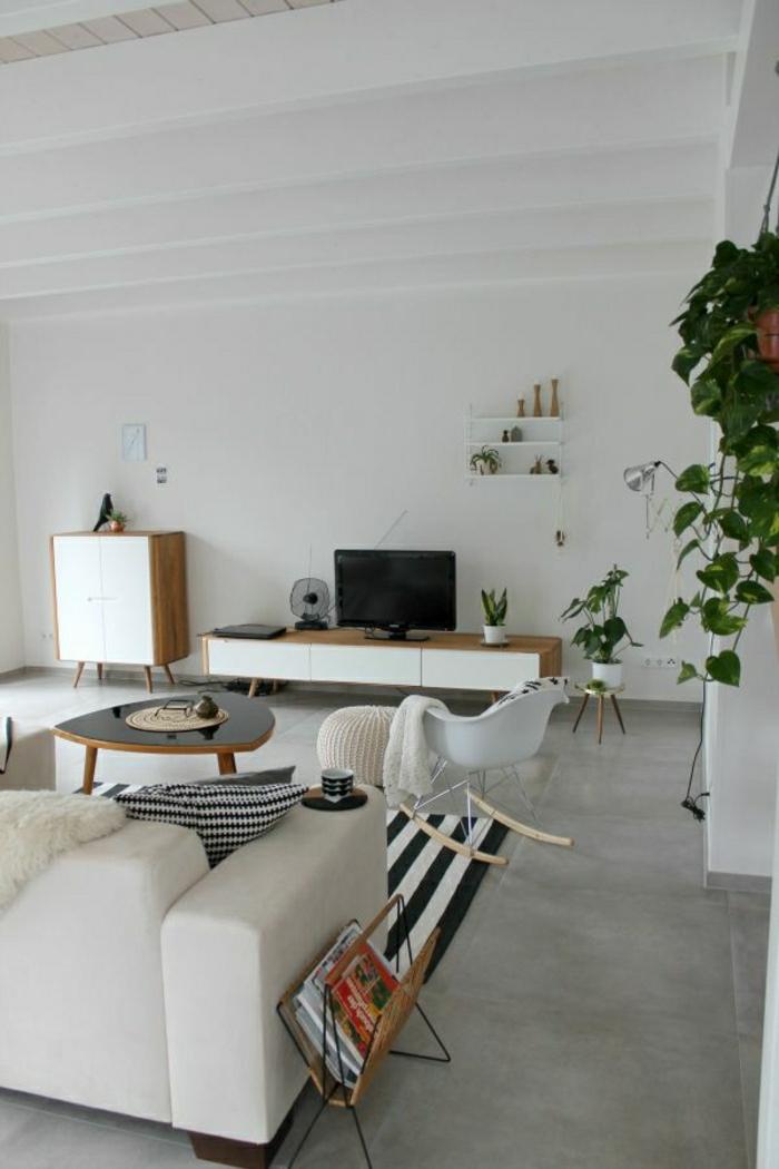 Wohnzimmer-skandinavisches-Interieur-weiß-Sofa-Sessel-Pflanzen-Fernseher
