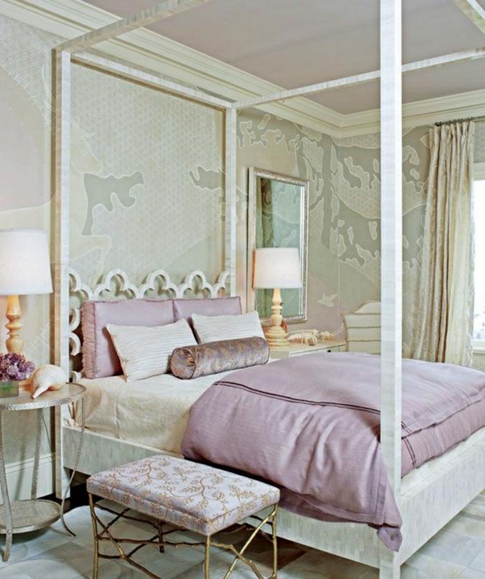 aristokratisches schlafzimmer beige goldene elemente bettrahmen lila bettwsche - Fantastisch Schlafzimmer Beige Lila