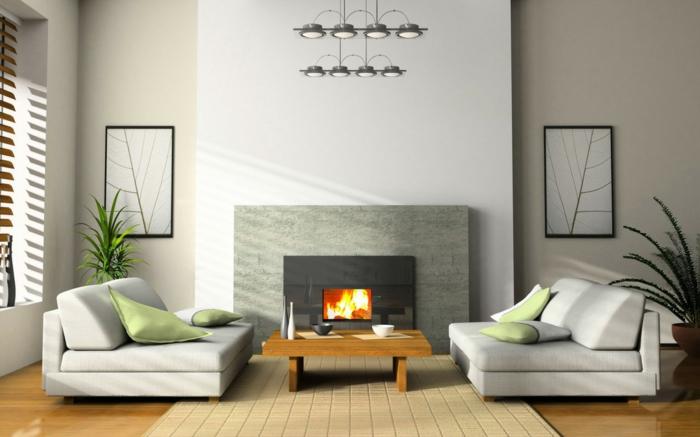 asiatische-wohnideen-grauer-kamin-und-zwei-sofas-mit-dekokissen