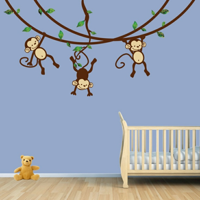 babyzimmer-design-affen-bemalungen-an-der-wand