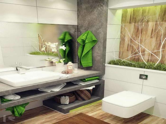 badeinrichtungen-ideen-weiße-möbelstücke-attraktive-wand