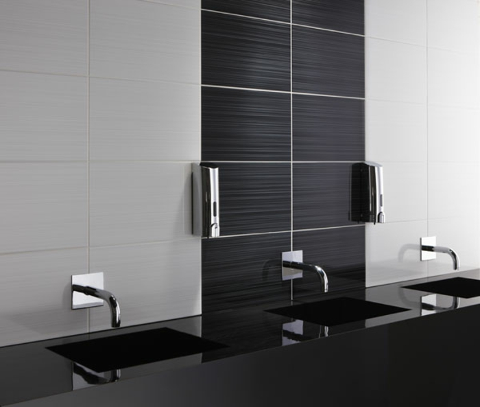 coole badezimmereinrichtung - schwarz und weiß kombinieren