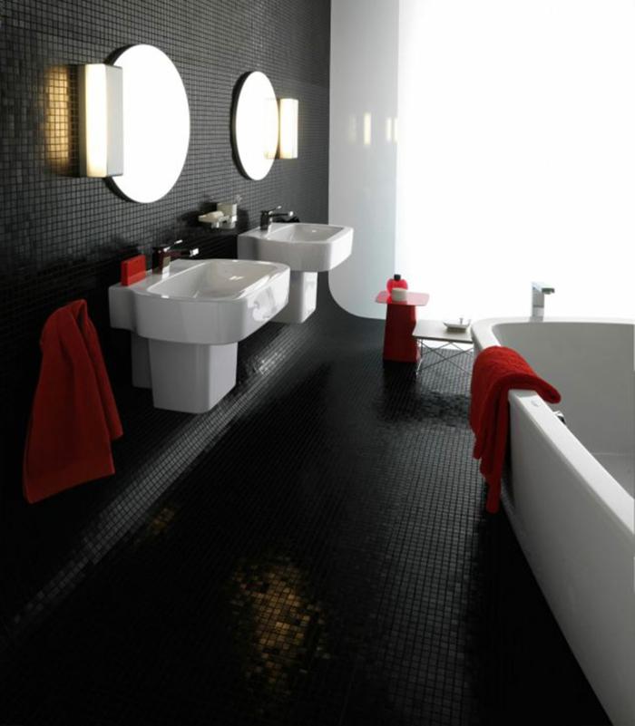 38 beispiele f r badezimmer in schwarz - Kleine runde spiegel ...