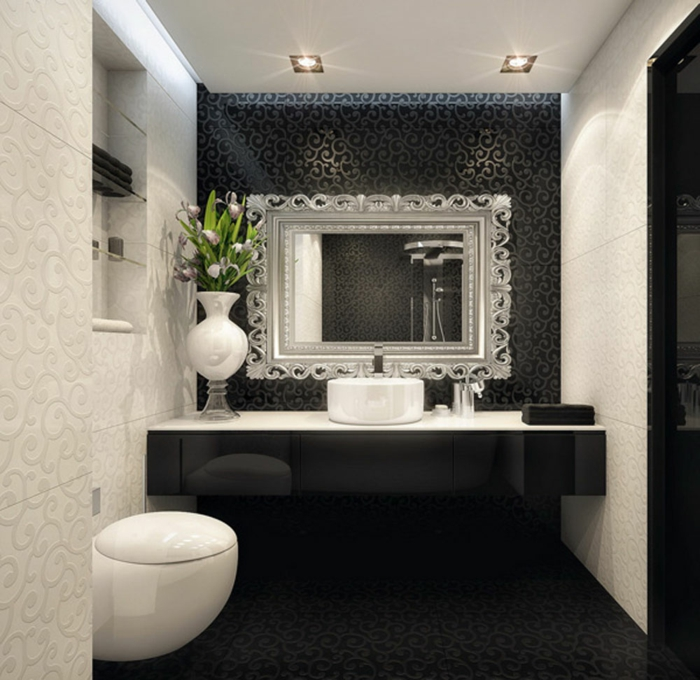 52 fotos von badezimmer in schwarz und wei for Bad deko schwarz