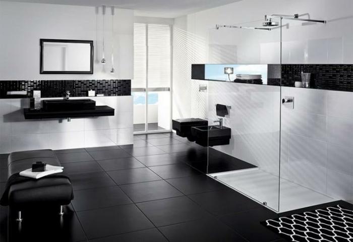 badezimmer-in-schwarz-und-weiß-moderne-duschkabine